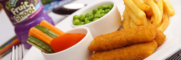 Fish fingers with fries and peas