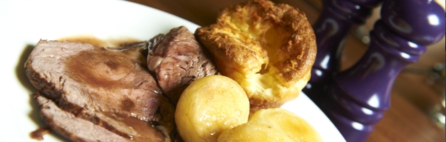 Roast beef, Yorkshire pudding and roast potatoes